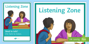 Listening Zone A4 Display Poster - Listening, Mental health, Support, Counselling, Help