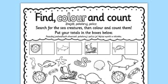 Under the Sea Find Colour and Count Activity Sheet Polish Translation - sea, seaside, oceans, counting, maths, numeracy, Polish, Poland, EAl, bilingual, translated, worksheet