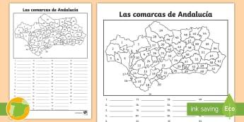 Ficha de actividad: Las comarcas de Andalucía - Mapas, provinicias, mapas mudos, concejos, colorear banderas, espana,