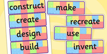 Building Brick Challenge Instruction Word Display Cards - vocab