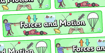 Forces and Motion Display Banner - Force, Movement, display, banner, sign, force, forces, gravity, push, pull, Magnet, friction, science, knowledge and understanding of the world