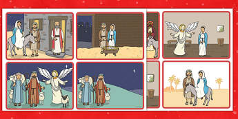 The Christmas Story Sequencing 4 per A4 blank - christmas story, sequencing, blank