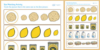 Pancake Day Size Matching Worksheet - pancake, matching, size
