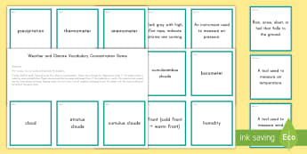 Weather and Climate Concentration Matching Game - Science Concentration Games, Body Systems, Earth and Sun, Ecology, Weather and Climate, Heat Energy,