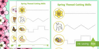 Spring Themed Cutting Skills Activity Sheets - Spring, seasons, worksheets, cutting skills