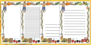 Harvest Page Borders - Page border, border, Harvest, Autumn, seasons,  A4, display, harvest,  harvest festival, fruit, apple, pear, orange, wheat, bread, grain, leaves, conker