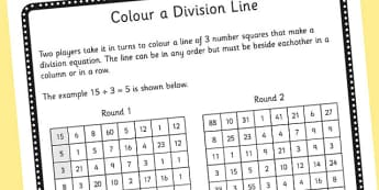 Year 3 Colour the Division Equation Game Sheet - dividing, maths