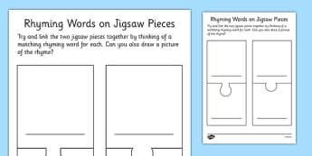 Rhyming Words Jigsaw Pieces Blank Template - rhyming words, jigsaw pieces, blank, template