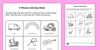 v Phonics Activity Sheet-Irish, worksheet
