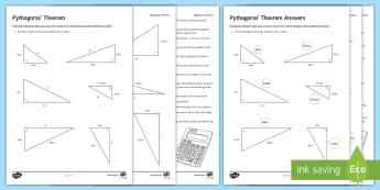 Pythagoras' Theorem Problem Solving Activity Sheet - Pythagoras, triangles, problem solving , triangls, trigonometry, square, lengths