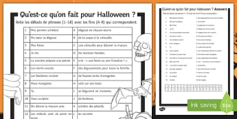 Halloween Present Tense Match Up Activity Sheet-French, worksheet