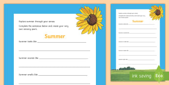 Summer Sensory Poem Activity Sheet - ROI Summer Resources, poem, poetry, sensory, senses, ,Irish, worksheet