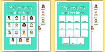 My Emotions and Feelings Vocabulary Matching Mat - emotions, feelings, vocabulary, matching mat, word mat, vocabulary mat, vocab mat, keyword, key word mat