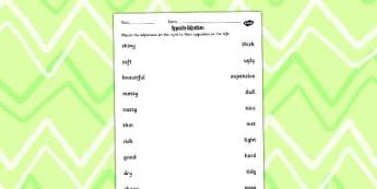 Opposite Adjective Worksheet - opposite, adjective, worksheet