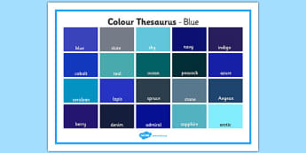 Colour Thesaurus Word Mat Blue - colour thesaurus, colour, thesaurus, word mat, word, mat, blue