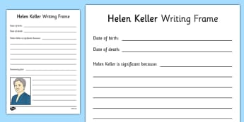 Helen Keller Writing Frame - helen keller, writing frame, significant individual, significant
