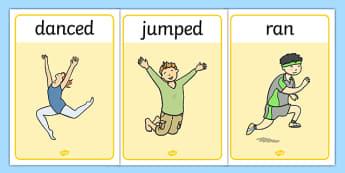 Verb Action Posters Past Tense - verbs, grammar, tenses, display