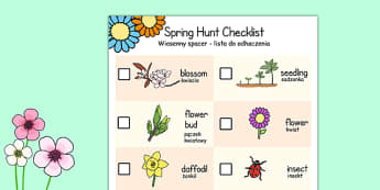 Spring Hunt Checklist Polish Translation - polish, spring, seasons, easter, hunt, easter hunt, objects hunt, can you see?, spring sensory walk checklist, walk checklist, spring walk checklist, spring hunt, spring search
