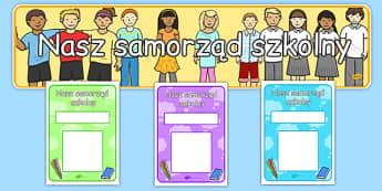 Zestaw materiałów na gazetkę Samorząd szkolny po polsku - szkoła