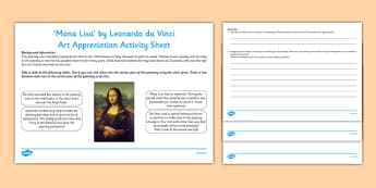 Mona Lisa by Da Vinci Art Appreciation Activity Sheet - Mona Lisa, Da Vinci, artist, art, activity sheet, Italy, worksheet
