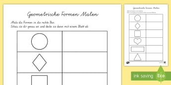 Geometrische Formen Malen Arbeitsblatt - Geometrische Formen, 2D, Flächen ,German
