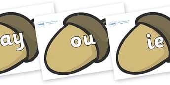 Phase 5 Phonemes on Brown Acorns - Phonemes, phoneme, Phase 5, Phase five, Foundation, Literacy, Letters and Sounds, DfES, display