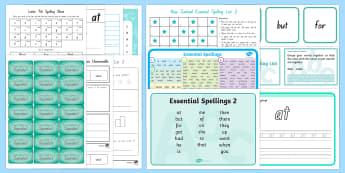 Essential Spelling List 2 Resource Pack - NZ Literacy Resources, new zealand, spellings, spelling, words, keywords, literacy