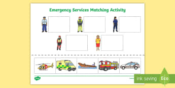 Emergency Services Cut and Paste Matching Activity - australia, matching, emergency services, cut and paste, activity