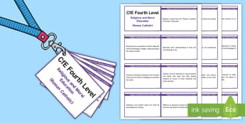 CfE Fourth Level Religious Education (Roman Catholic) Lanyard-Sized Benchmarks - CfE Benchmarks, tracking, assessing, progression, RE, RME, RMPS, Religious Education, lanyard-sized