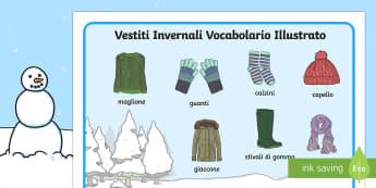 Vestiti Invernali Vocabolario Illustrato - vestiti, invernali, vocabolario, illustrato, inglese, italiano, italian, cappello, natale, inverno