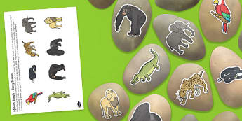African Jungle Themed Story Stone Image Cut Outs - african, jungle, story stone, image, cut outs