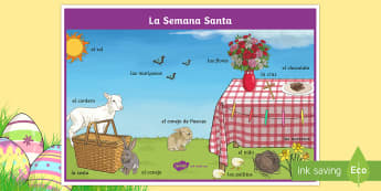 Easter Scene Word Mat - Spring, KS2, Spanish, MFL, Easter, scene, word, mat