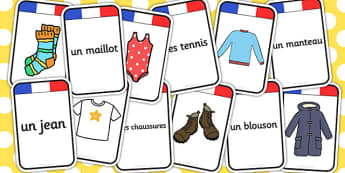 French Clothing Matching-Flashcards - flashcard, match, clothes