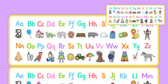 A to Z Alphabet Strips Romanian Translation - alphabet, letters, upper, lower, case, learn, letter, early years, romanian
