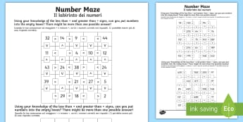 Place Value Number Maze Activity Sheet Pack English/Italian - greater than, less than, equal to, <, >, =, Year 2 Mastery, position, digit, reason, justify, predic