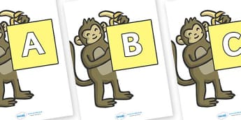 A-Z Alphabet on Monkeys - A-Z, A4, display, Alphabet frieze, Display letters, Letter posters, A-Z letters, Alphabet flashcards