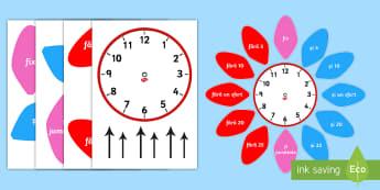 Ceas analog cu petale - ceas analog, timp, citirea ceasului, unități de măsură, timpul, ceasul, matematică, română, m