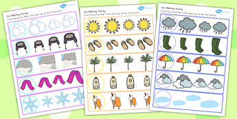 Winter Size Matching Worksheets Temperate - seasons, weather