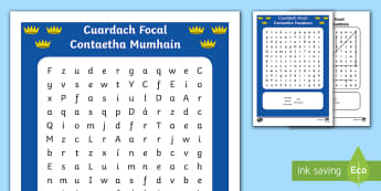 Contaetha Mumhain Word Search Gaeilge - Counties, Mumhain, contae, Corcaigh, Ciarraí, Tiobráid Arann, Luimneach ,Irish