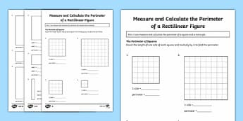Year 4 Measure and Calculate the Perimeter of a Rectilinear Figure Differentiated Activity Sheets