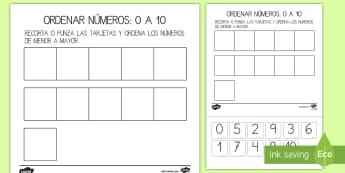 Ficha de actividad: Ordenar números - 0-10 - ordenar números, ficha, actividad, 0-10, cero a diez, números, orden, mates, matemáticas,Spanish