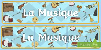 Bannière : La musique - musique, music, instruments de musique, orchestre, orchestra, violon, guitare, piano, flûte, cor, p