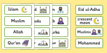 Islam Word Cards - Religion, faith, muslim, mosque, allah, God, RE, five pillars, mohammad