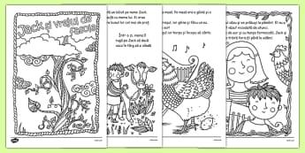Jack și vrejul de fasole - Poveste ilustrată cu planșe de colorat