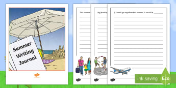 Summer Writing Activity Booklet - summertime, writing, prompts, journal, worksheets, holiday, vacation, leisure