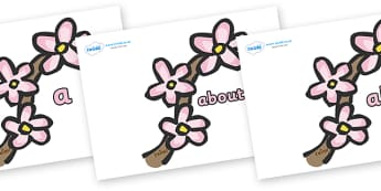 100 High Frequency Words on Spring Blossom - High frequency words, hfw, DfES Letters and Sounds, Letters and Sounds, display words