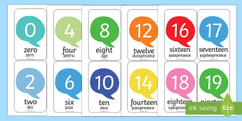 Number Flash Cards English/Romanian