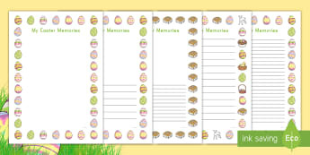 My Easter Memories Writing Frames - My Easter Memories Writing Templates, Easter Writing, Easter Journal, Easter Break, Writing Template