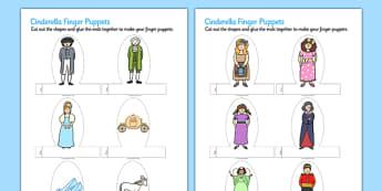 Cinderella Finger Puppets - finger puppets, cinderella, puppets