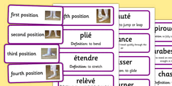 Basic Ballet Positions and Movements Flashcards - basic, ballet, positions, movements, flashcards
